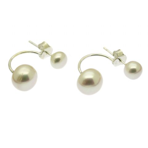 Double Pearl Earrings White Freshwater Pearls Sterling Silver